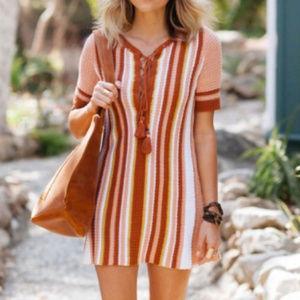 Free People Sunset Stripe Boho Sweater Dress XS